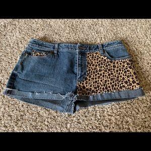 Ann Taylor Denim and Leopard shorts